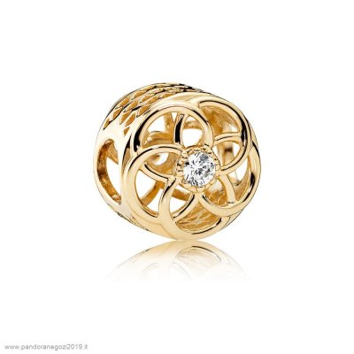 Pandora Vendita Contemporaneo Charms Loving Bloom Charm 14K Oro Chiaro Cz